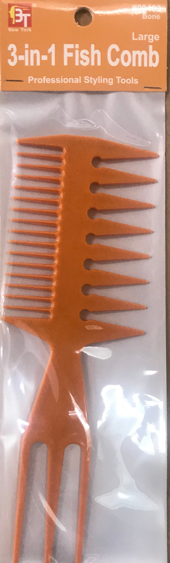 PLASTIC COMB 3-IN-1 FISH COMB LARGE BONE - Dozen - Palms Fashion