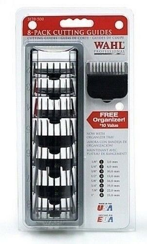 Wahl 8-Pack Coded Cutting Guides Combs black #3170-500 - Palms Fashion Inc.