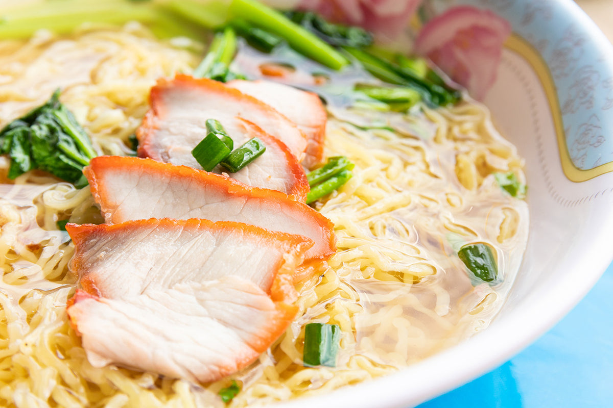 Egg Noodle Soup with Fried Puff Tofu and Oriental Red Pork