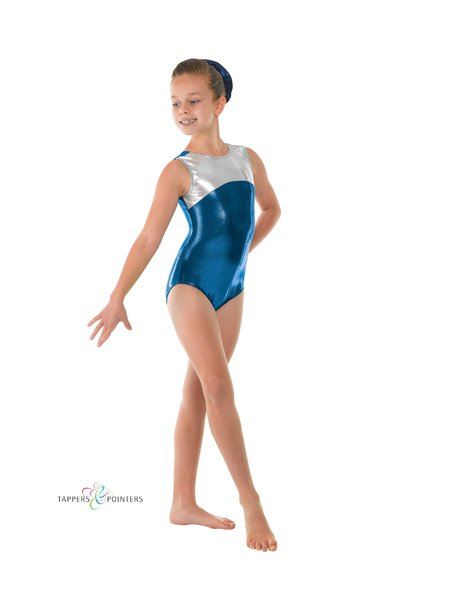 tappers and pointers blue shiny gymnastics leotard GYM11