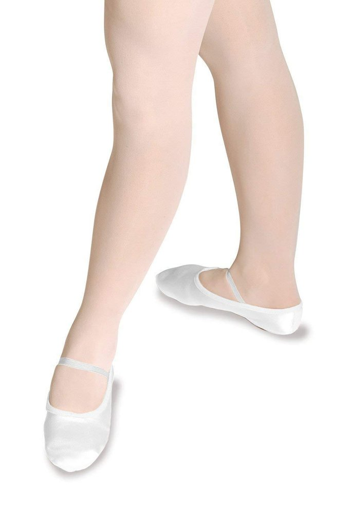 Roch Valley Ivory Satin Ballet Shoe with Full Suede Sole - UK Adult's size 5.5