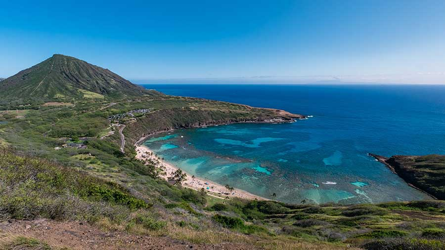 Hanauma Bay beach and reef landscape