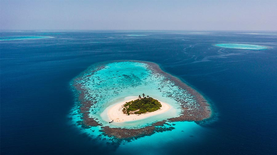 Maldives reef for snorkeling aerial