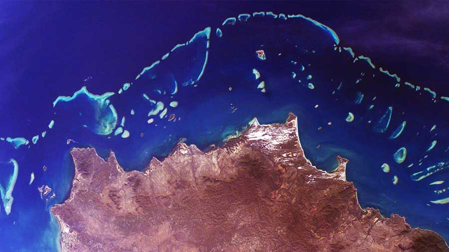 Satellite view of entire great barrier reef