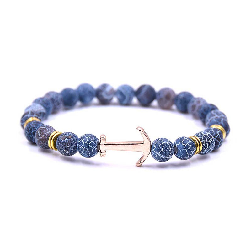 Dark Blue Beaded Anchor Bracelet