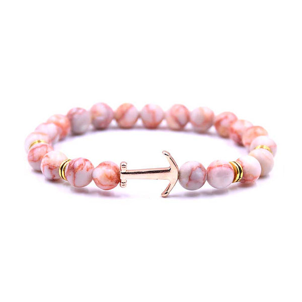 Coral Beaded Anchor Bracelet