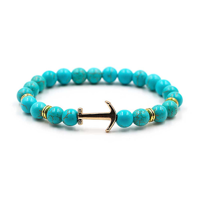 Turquoise Beaded Anchor Bracelet