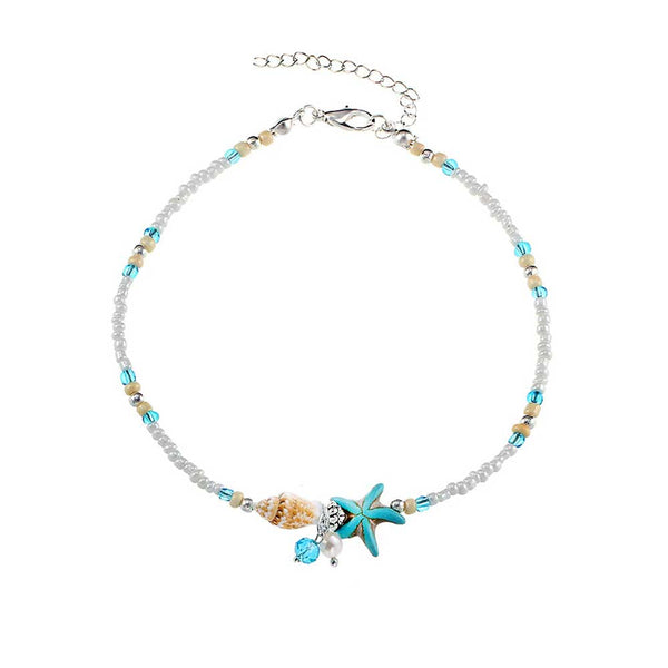 Beaded Starfish Anklet with Shells & Pearls