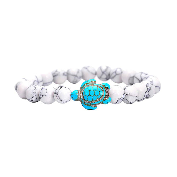 Beaded Turtle Bracelet in White & Turquoise