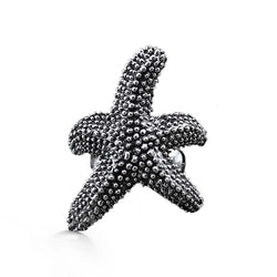 Top view of a big boho starfish ring