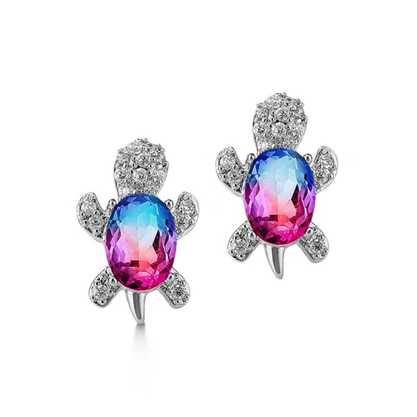 Blue and purple crystal turtle stud earrings