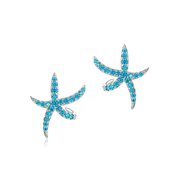 Pair of Blue Sea Star Earrings on white background