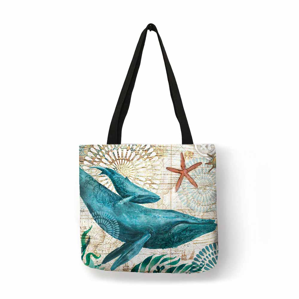 Ocean gift tote bag with blue whale print