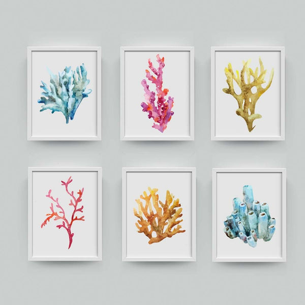 Six Framed Watercolor Coral Canvas Prints