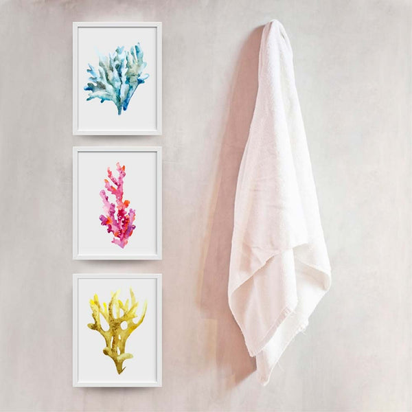 Set of three coral reef canvas prints