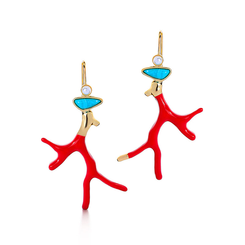 Red Enamel Coral Earrings with Turquoise