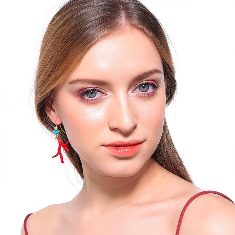 Asymmetrical Red Coral Earring with Turquoise