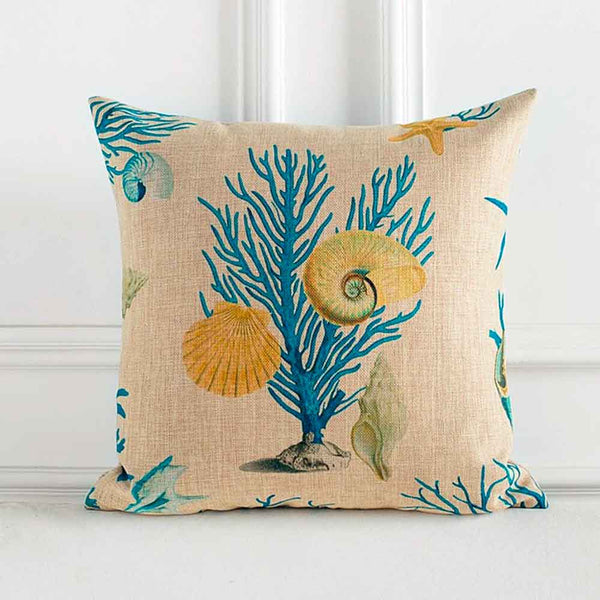 sea fan and shell cushion print