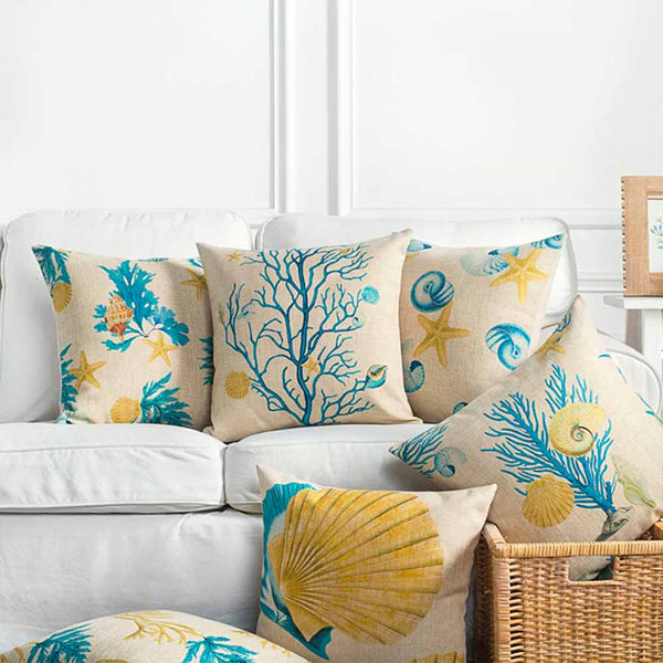Variety of Coral Reef Pillows on sofa
