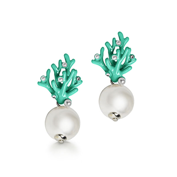Green Enamel Coral Earrings with Pearls