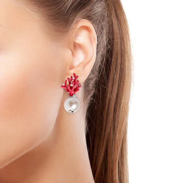 Woman wearing Red Coral and Pearl Earring