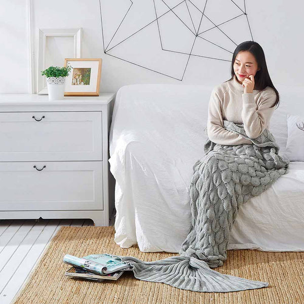Grey Scale Mermaid Tail Blanket