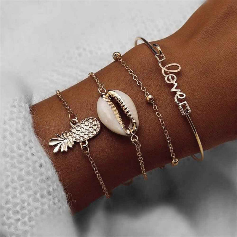 4 Piece Cowrie Shell and Pineapple Bracelet Set