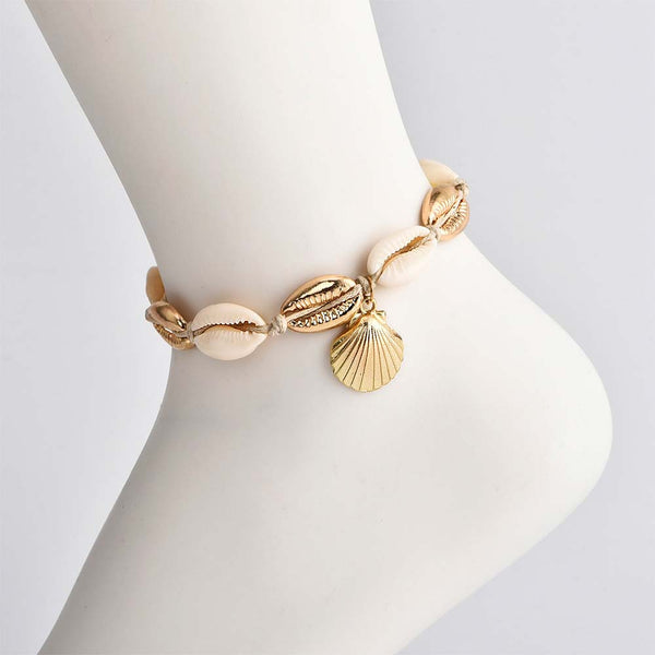 Gold and Natural Shell Anklet