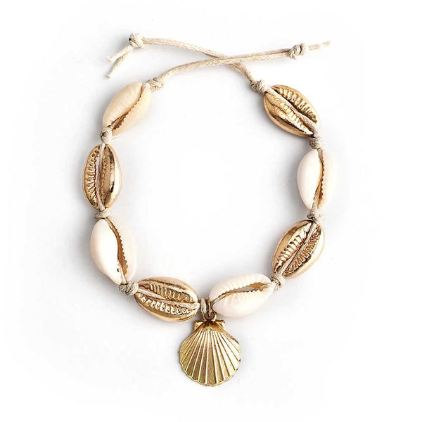 Gold Cowrie Anklet with Shell Charm