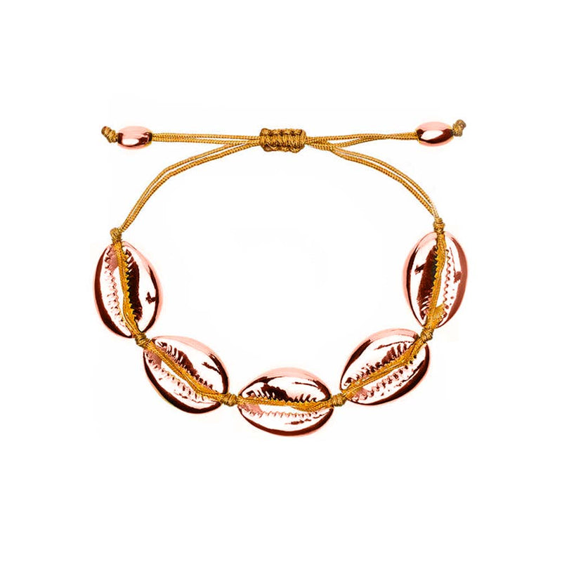 Cowrie Shell Bracelet in Rose Gold