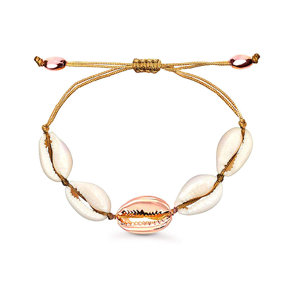 Natural Cowrie Shell Bracelet with Rose Gold