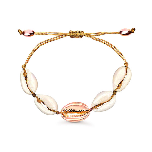 Natural Cowrie Shell Bracelet in Rose Gold