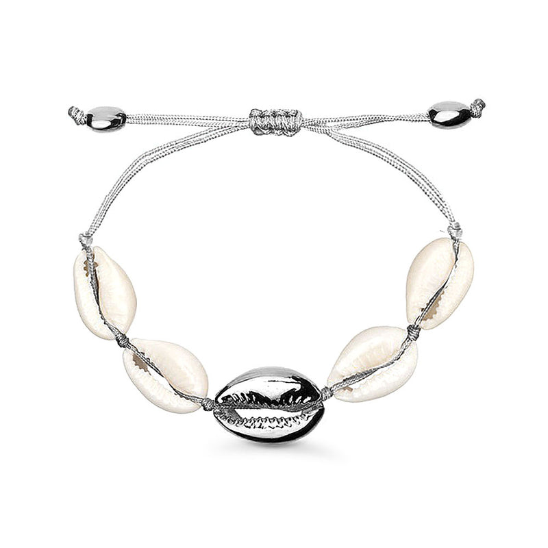 Natural Cowrie Shell Bracelet in Silver