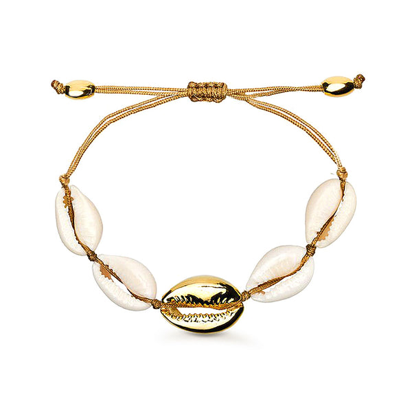 Natural Cowrie Shell Bracelet in Gold