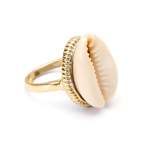 Cowrie Shell Ring in Gold