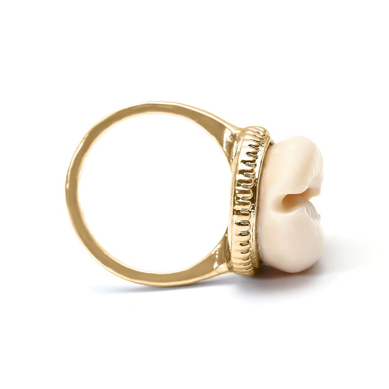 Gold Shell Ring side view