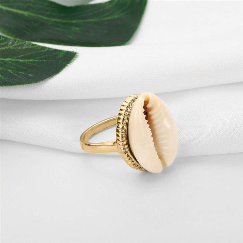 Natural Cowrie Shell set in chunky Gold Ring