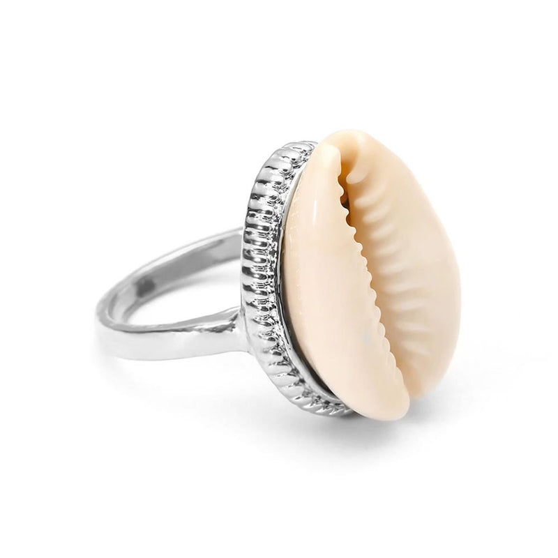 Cowrie Shell Ring in Silver