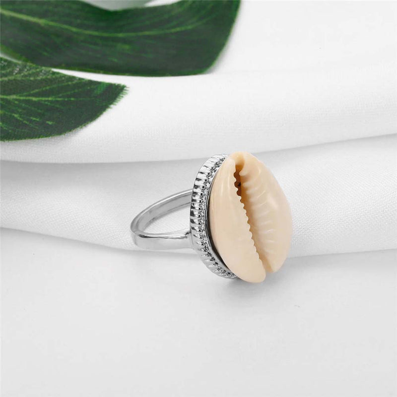 Natural Cowrie Ring in Silver with palm leaf