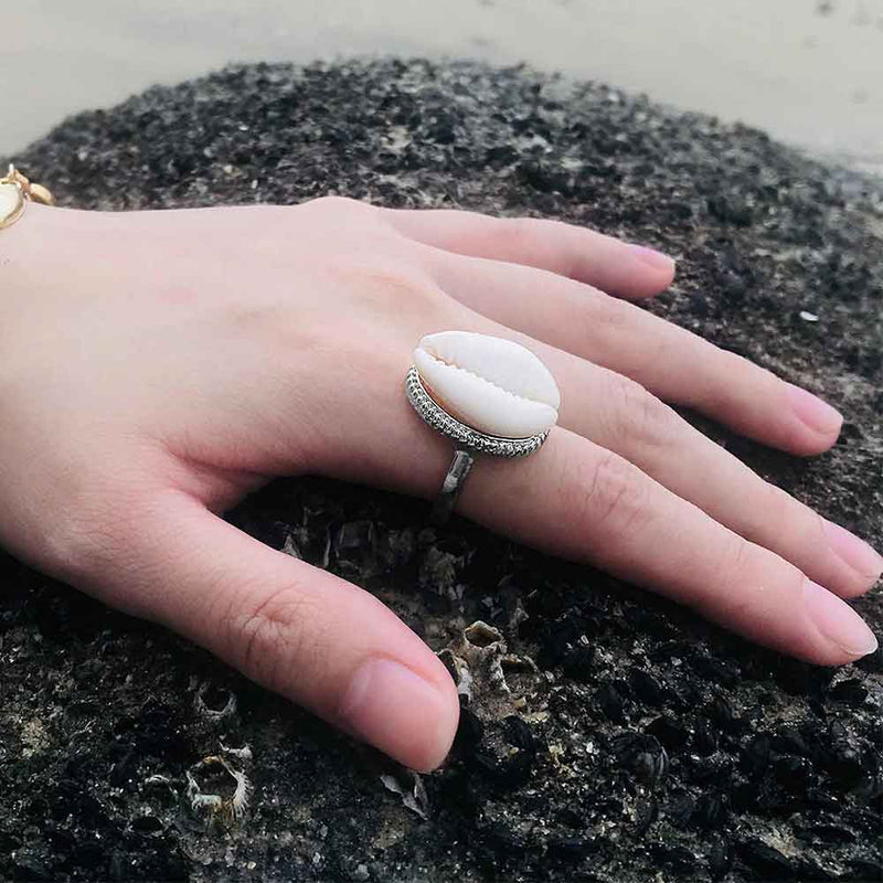 Model wearing Cowrie Shell Cocktail Ring