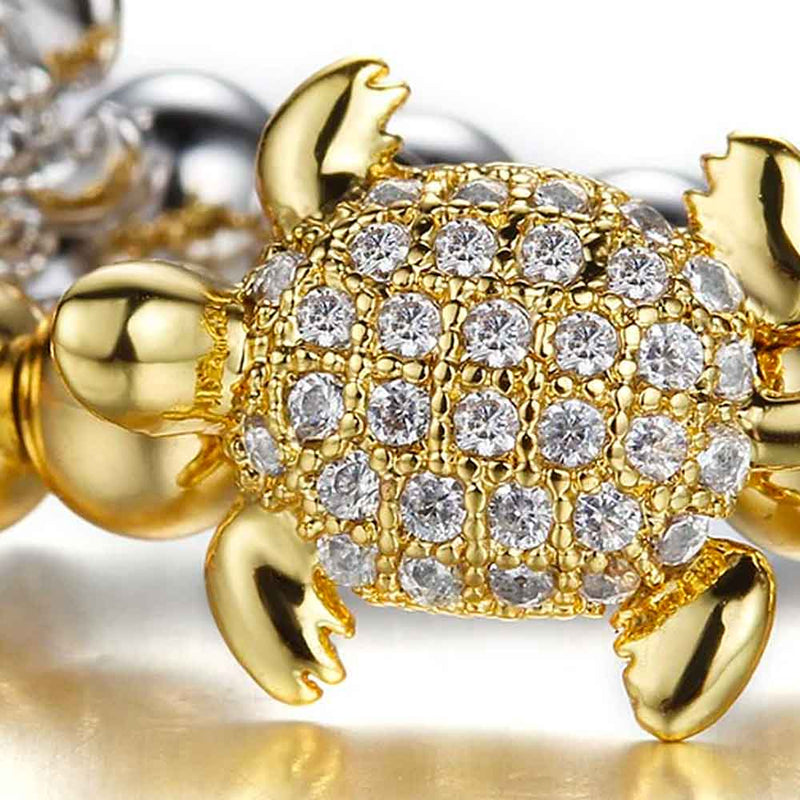 Gold & Crystal Beaded Sea Turtle Bracelet