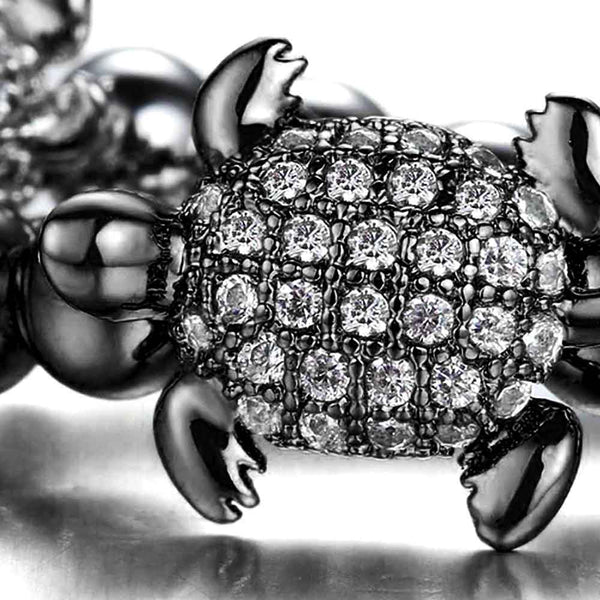 Black & Crystal Beaded Sea Turtle Bracelet