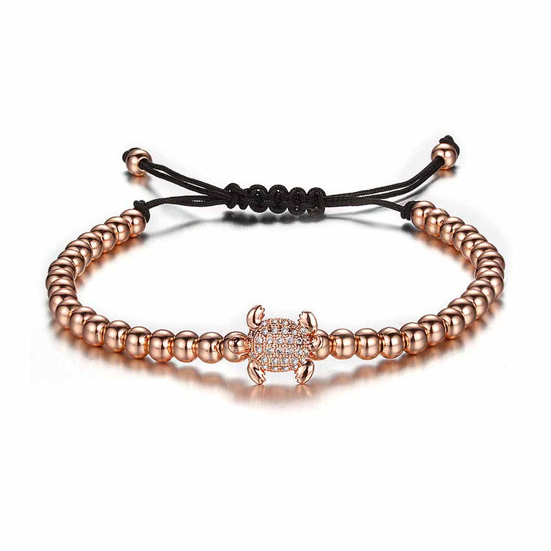 Rose Gold & Crystal Beaded Sea Turtle Bracelet