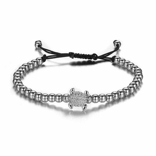 Silver & Crystal Beaded Sea Turtle Bracelet