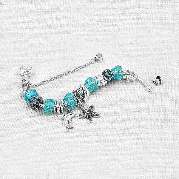 Silver & Blue Dolphin Bracelet with Ocean Charms