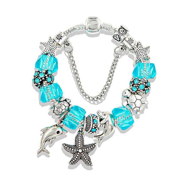Blue Dolphin Bracelet with Ocean Charms