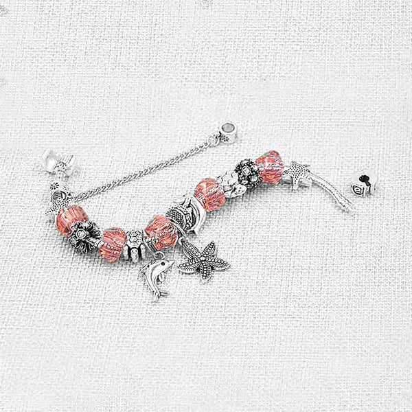 Silver & Pink Dolphin Bracelet with Ocean Charms