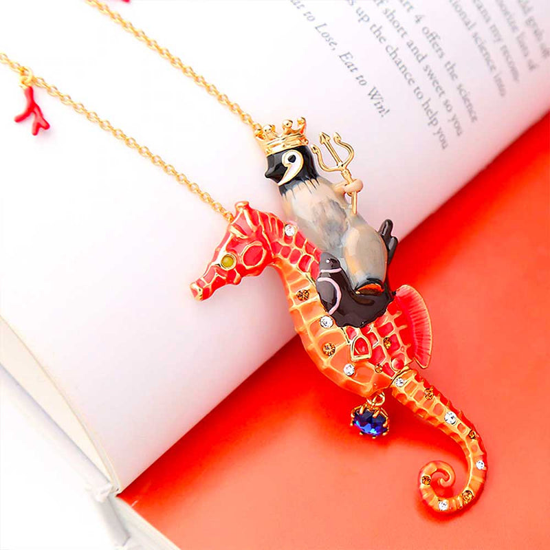 Large Red Seahorse and Penguin Pendant with Coral Charms