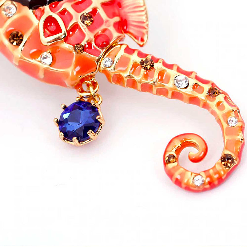 Seahorse tail with gold, enamel and stone set detailing