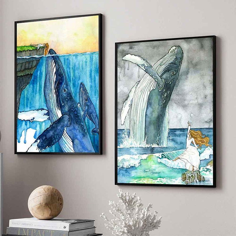 Two Humpback Whale prints in black frames